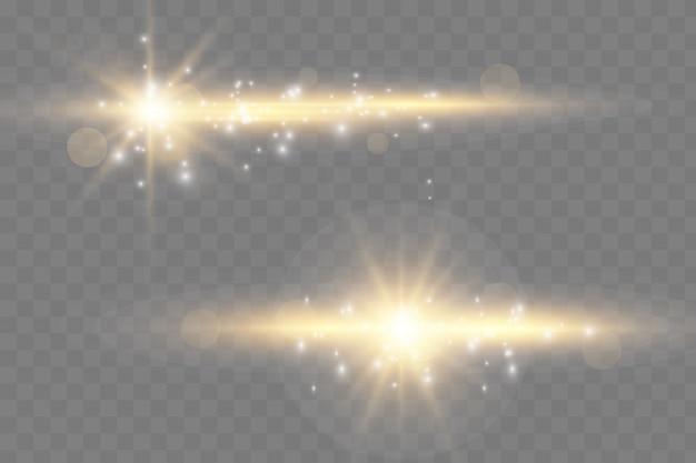 Efeito de luz dourado elegante. resumo raio laser de luz. raios de néon caóticos de luz. brilhos dourados.