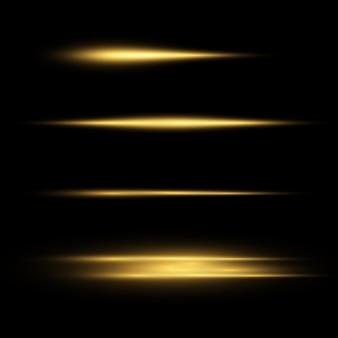 Efeito de luz dourado elegante. resumo raios laser de luz. raios de néon caóticos de luz. brilhos dourados. em fundo escuro transparente. ilustração. eps 10