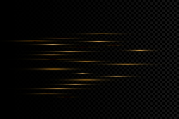 Efeito de luz dourado elegante. resumo raios laser de luz. raios de néon caóticos de luz. brilhos dourados.