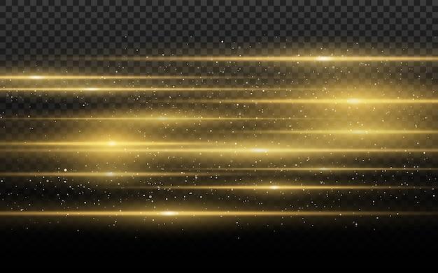 Efeito de luz dourado elegante. resumo raios laser de luz.