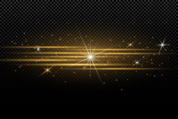 Efeito de luz dourado elegante. Vetor Premium