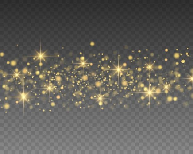 Efeito de luz. efeito de brilho de partículas. partículas de poeira mágica cintilantes.