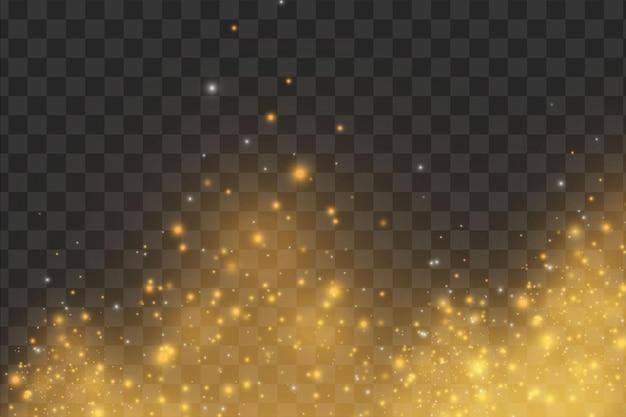 Efeito de luz elegante abstrato de natal em um fundo preto transparente.