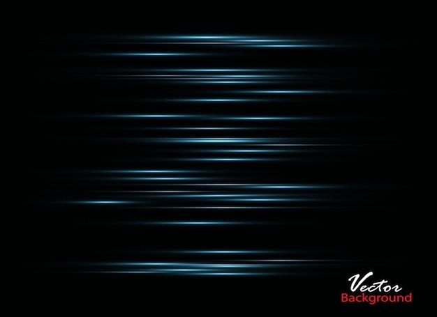 Efeito de luz elegante abstrato em fundo preto. linhas de néon brilhantes azuis. trilha brilhante.