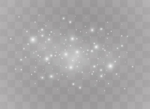 Efeito de luz especial de brilho de faíscas brancas. brilha em fundo transparente. partículas de poeira mágica cintilantes