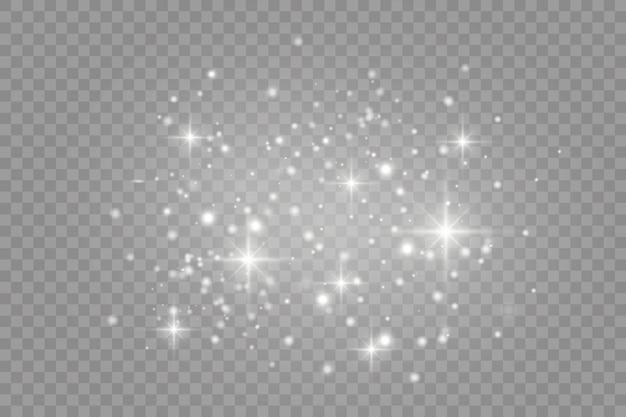 Efeito de luz especial de brilho de faíscas brancas. brilha em fundo transparente.