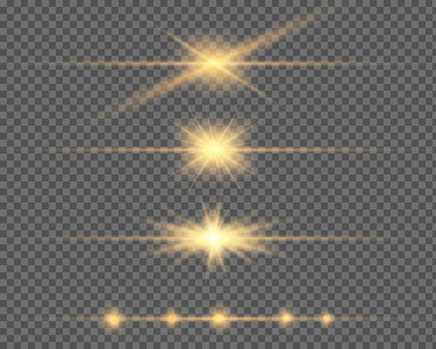 Efeito de luz especial de brilho, flare, estrela e faísca isolado. luz dourada do vetor