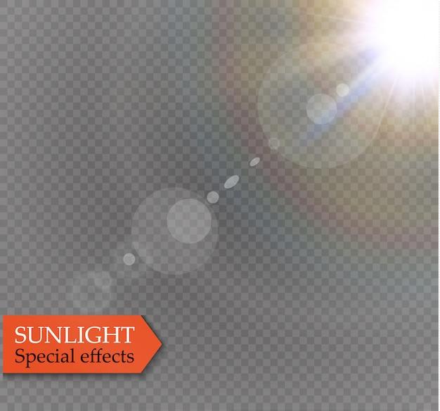 Efeito de luz especial transparente da lente abstrata ouro frente reflexo solar.