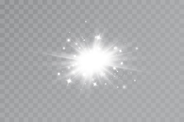 Efeito de luz. estrela brilhante. a luz explode em um fundo transparente. sol brilhante.