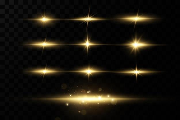 Efeito de luz. estrela brilhante. luz explode