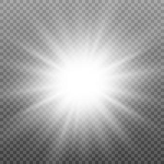 Efeito de luz. estrela, brilho, luz do sol.