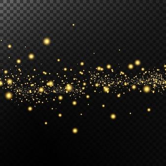Efeito de luz. fundo de partículas cintilantes. elementos brilhantes em um fundo transparente.