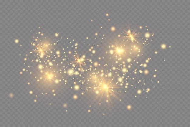 Efeito de luz. fundo de partículas cintilantes. elementos brilhantes