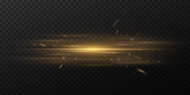 Efeito de luz horizontal dourada sobre fundo escuro e transparente. feixe com faíscas. raios brilhantes com poeira brilhante. brilho óptico. ilustração vetorial
