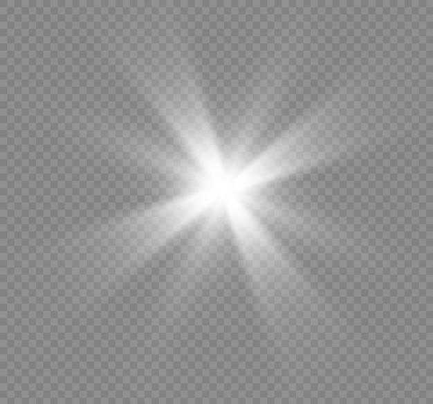 Efeito de luz, luz solar ou luz das estrelas. luz brilhante.