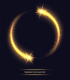 Efeito de luz mágica círculo dourado isolado. poeira estelar luminescente com bokeh e brilhos brilhantes. ilustração vetorial