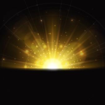Efeito de luz mágica do nascer do sol