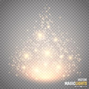 Efeito de luz mágico brilha especial, reflexo, estrela e explosão faísca isolada