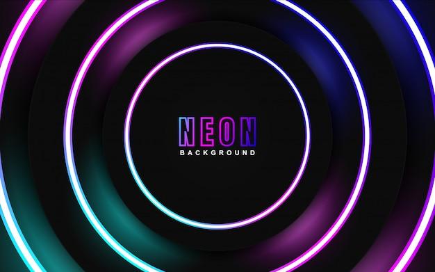 Efeito de luz neon colorida em fundo escuro