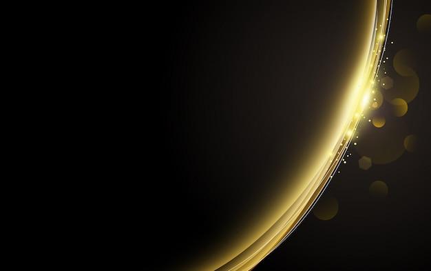 Efeito de luz ouro abstrato com design de bokeh em fundo preto