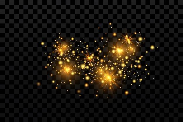 Efeito de luz. partículas cintilantes. elementos brilhantes