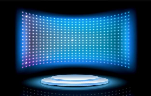 Efeito de luz realstic glow azul em fundo azul escuro