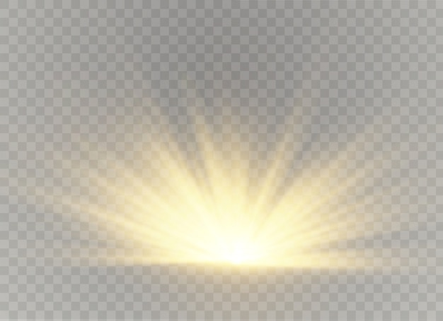 Efeito de luz solar transparente. desfoque à luz do brilho. raios e holofote.