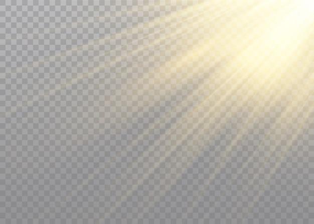 Efeito de luz solar transparente. raio de sol e raios.