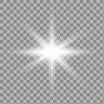 Efeito de luz transparente branco brilho isolado