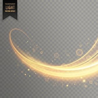 Efeito de luz transparente brilhante na cor dourada