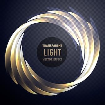 Efeito de luz transparente brilhante vetor de redemoinho