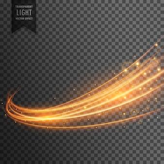Efeito de luz transparente com trilha curva e brilhos dourados