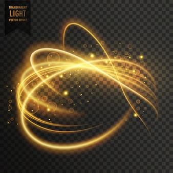 Efeito de luz transparente dourado com trilhas curva e brilhos