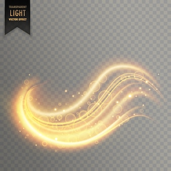 Efeito de luz transparente dourado ondulado