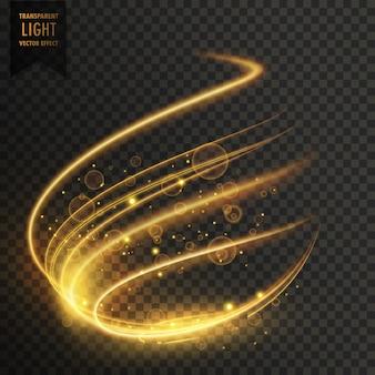Efeito de luz transparente em cor dourada