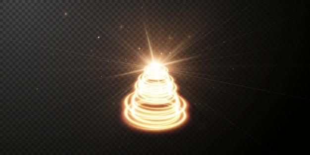 Efeito de luz twirl curve dourado claro de linha dourada círculo dourado luminoso pedistal dourado claro
