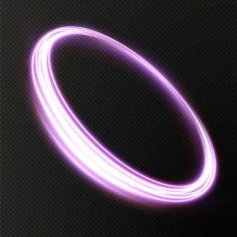 Efeito de luz twirl curve rosa claro da linha rosa círculo rosa luminoso vector png