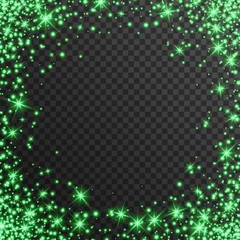 Efeito de luz verde em fundo transparente, brilhando
