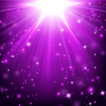 Efeito de luz violeta iluminado com brilhos