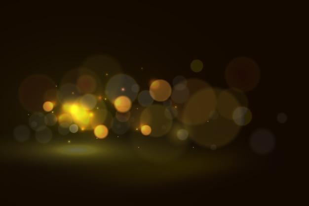 Efeito de luzes bokeh em fundo escuro