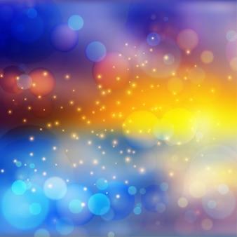 Efeito de luzes bokeh em fundo gradiente colorido