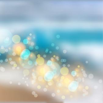 Efeito de luzes bokeh em fundo gradiente de praia
