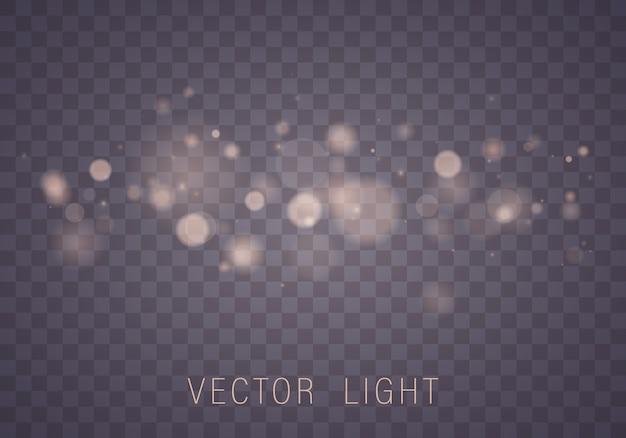 Efeito de luzes brilhantes bokeh abstrato isolado