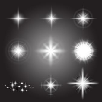 Efeito de luzes brilhantes, clarão, explosão e estrelas