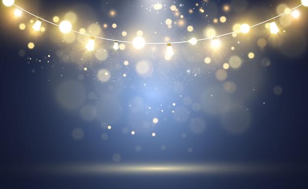 Efeito de luzes brilhantes com decorações de luz garlands