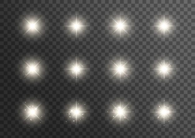 Efeito de luzes brilhantes. estrela estourou com brilhos. efeito especial isolado em fundo transparente. sol brilhante e transparente, flash brilhante