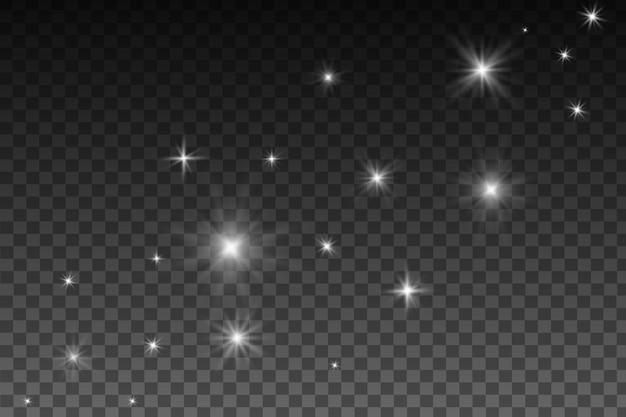Efeito de luzes brilhantes, flare, explosão e estrelas. efeito especial isolado em fundo transparente. reflexos de lente, estrelas e brilhos com coleção de bokeh.