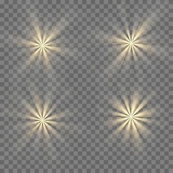 Efeito de luzes brilhantes, flare, explosão e estrelas. efeito especial isolado em fundo transparente.