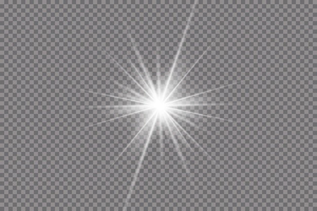 Efeito de luzes brilhantes, flare, explosão e estrelas.