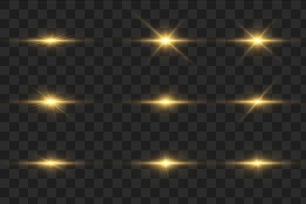 Efeito de luzes brilhantes, flash, explosão e estrelas. efeito especial isolado em fundo transparente